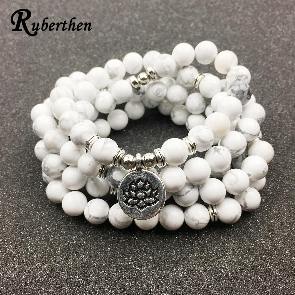 Ruberthen Conçu Femmes de Bracelet À La Mode 108 Mala Howlite Lotus Bracelet ou Collier Haute Qualité Yogi Bijoux Cadeau pour les Filles