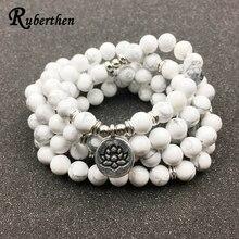 Ruberthen разработан женский браслет мода 108 мала Howlite браслет с цветком лотоса или цепочки и ожерелья Высокое качество ювелирные украшения с мотивами йоги подарок для обувь девочек