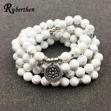 Ruberthen разработан Для женщин браслет Мода 108 мала Howlite Лотос браслет или Цепочки и ожерелья Высокое качество йоги ювелирные изделия подарок для Обувь для девочек