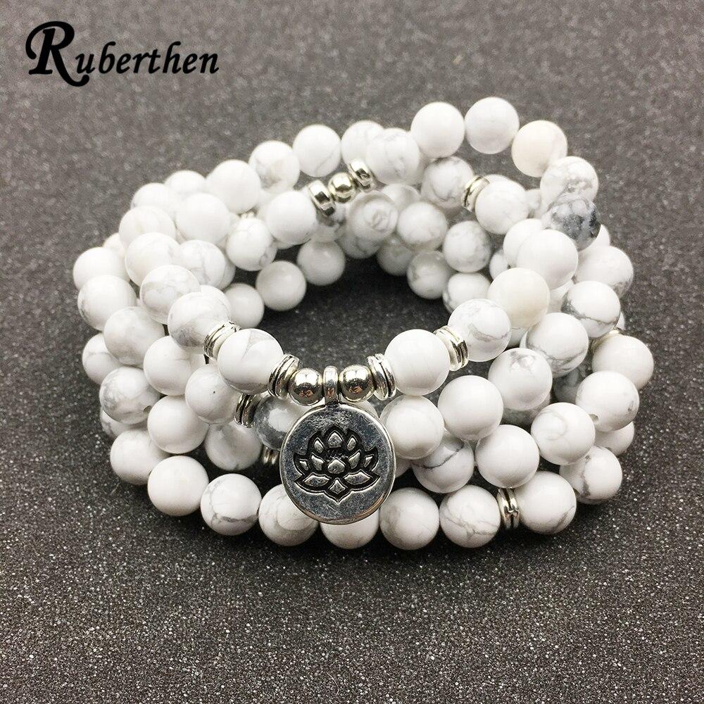 Ruberthen Entwickelt frauen Armband Trendy 108 Mala Howlite Lotus Armband oder Halskette Hohe Qualität Yogi Schmuck Geschenk für Mädchen