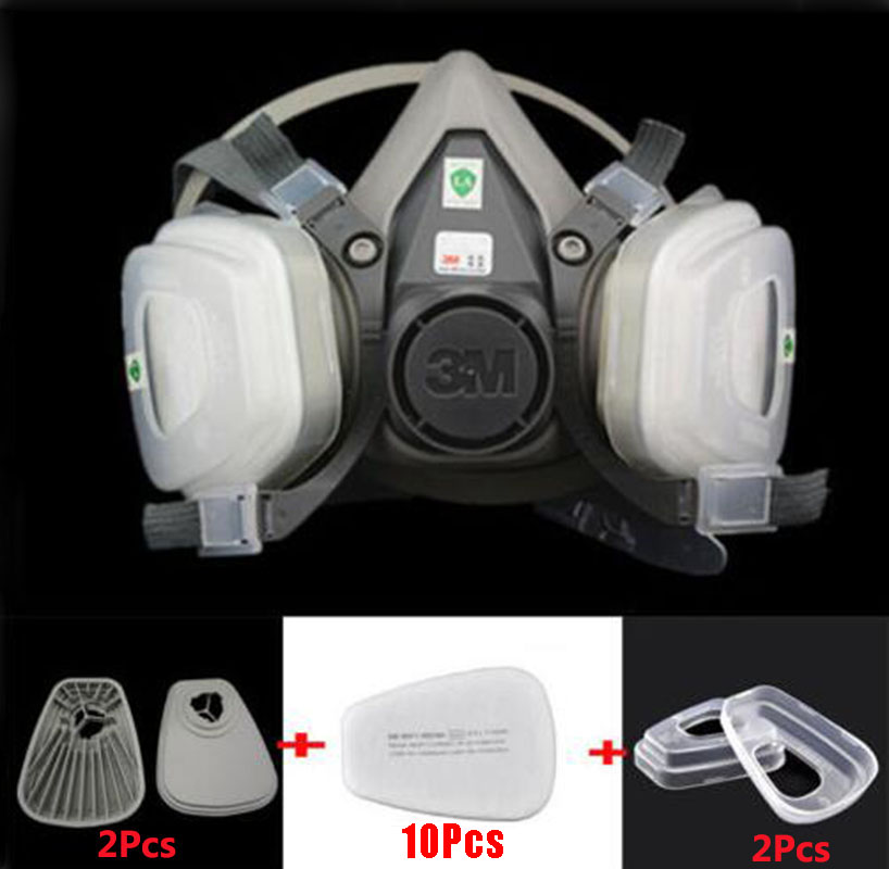 15 in 1 3M 6200 Half Face Respirator Gas mask Spray Painting Safety Work Protection Industry Respirator Dust mask 9 in 1 suit gas mask half face respirator painting spraying for 3 m 7502 n95 6001cn dust gas mask respirator