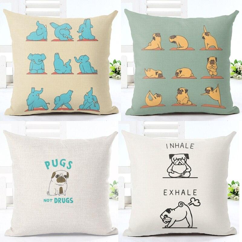 Yoga Dog Cushion Cover Funny Pug Cotton Linen Cushion Cover Yoga Elephant Sofa Nordic Decorative Throw Pillow Cover Euro Pillow
