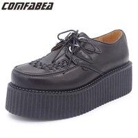 Original Brand QueenCity HARAJUKU Style Genuine Leather Womens Flats Creepers Platform Black Shoes For Woman EU