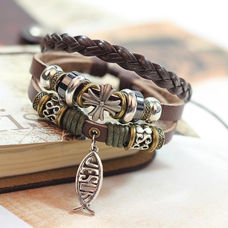 New Design Leather Bracelet Hot Jewelry Fashion Multilayer Cute Charm Wrap Bracelet For Women Men Jesus Cross Fish Pattern