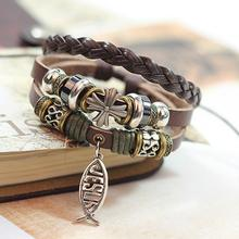 New Design Leather Bracelet Hot Jewelry Fashion Multilayer Cute Charm Wrap Bracelet For Women Men Jesus Cross Fish Pattern