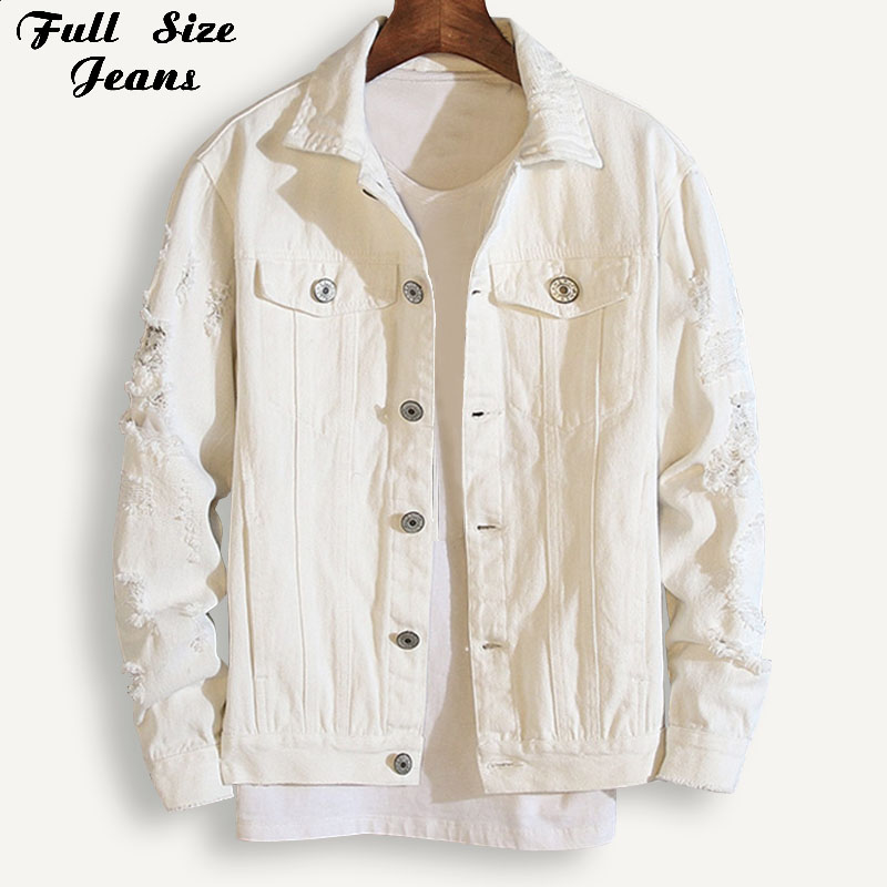 Plus Size Boyfriend Loose Ripped White Denim   Jacket   Women 4Xl 5Xl Spring Streetwear Pink Red   Basic   Jeans Coat Lover'S Outwear