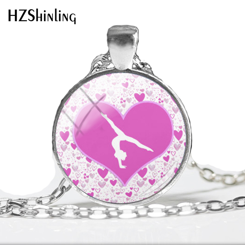 2018 pink Gymnasium Sports Photo Pendant dancer Pendants Keep Calm Quote Necklace Round Silver tumble on Jewelry HZ1