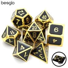 Блестящие золотистые w/черный металлическая Глянцевая кости D4 D6 D8 D10 D % D12 D20 для Подземелья и Драконы RPG кости игр с Бесплатная Drawstring