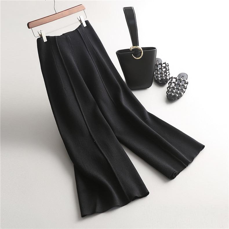 2017 Fashion elastic high waist wool wild thin knitted   wide     leg     pants   Autumn Winter women   wide     leg     pants