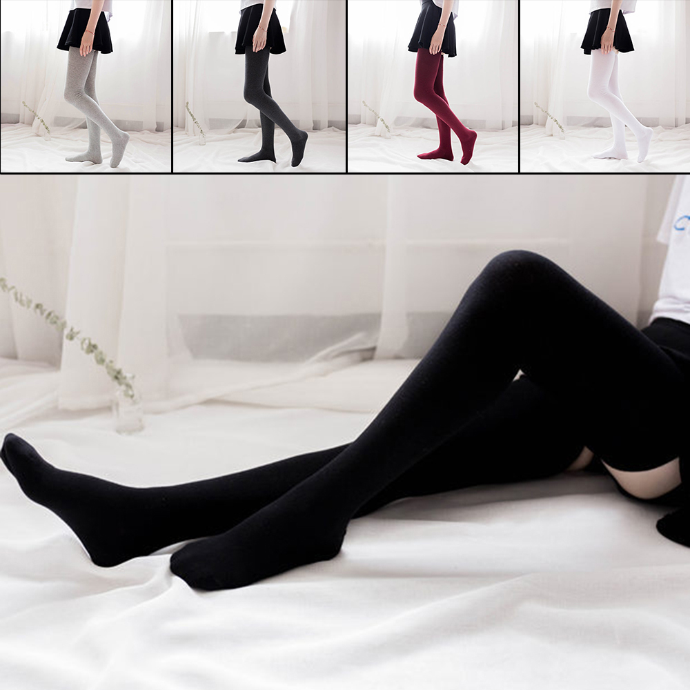 KLV Women's Thick White Black Stockings Sexy Thigh High <font><b>Socks</b></font> Over <font><b>Knee</b></font> <font><b>Kawaii</b></font> Stockings Female Cotton <font><b>Knee</b></font> High <font><b>Socks</b></font> image