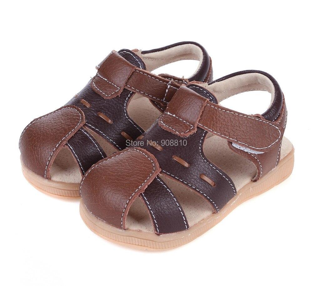 Chaude!! bébé garçon sandales en cuir souple brun noir fermé toe chaussures en cuir véritable nouveau en stock d'été durable
