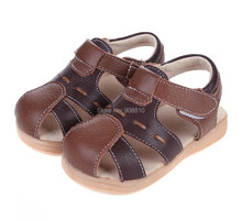 ¡ Caliente!! bebé sandalias de cuero suave marrón negro cerrado toe zapatos de cuero genuinos nuevo en stock verano durable