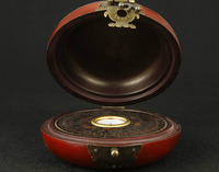 Leather can collect old hand painted dragon phoenix compass, feng shui box wooden handicraft home decorations