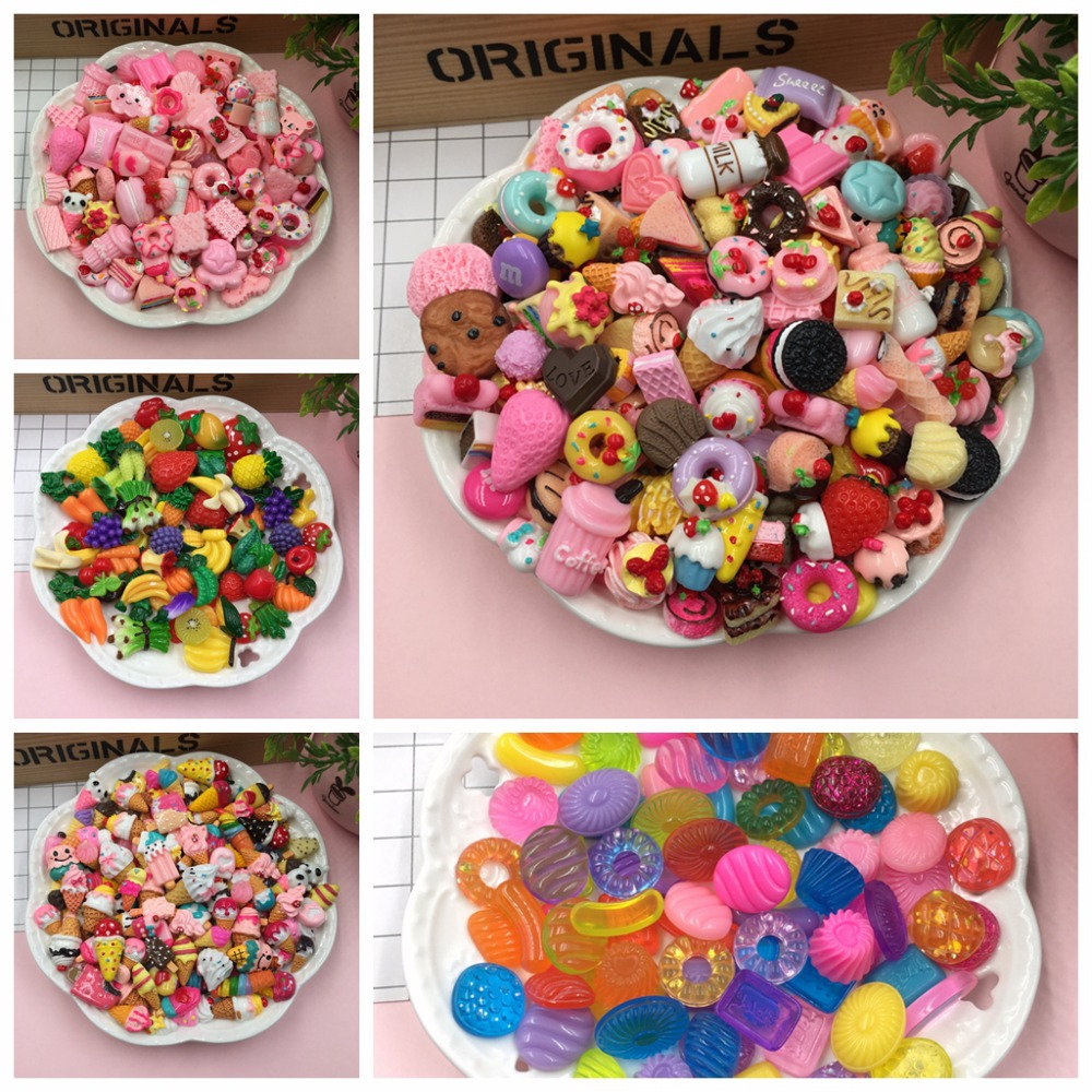 20pcs/lot Mix Kawaii Food, Cute Unicorns, Resin Flatback Cabochons For Phone Deco, Scrapbooking, DIY