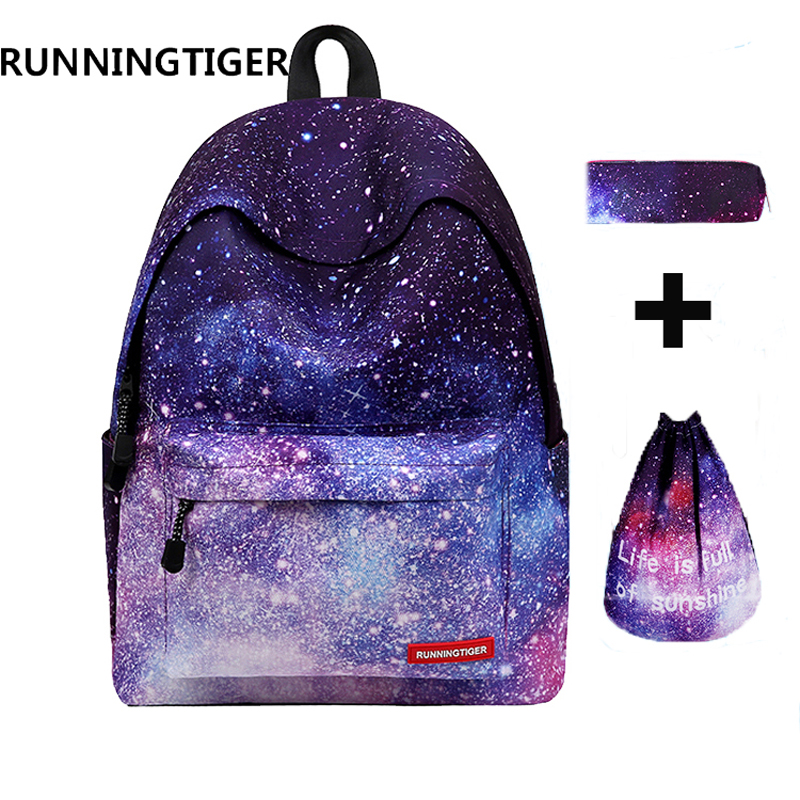 RUNNINGTIGER 3pcs Sets Girls School Bags Women Printing Backpack School Bags For Teenage Girls Shoulder Drawstring Bags runningtiger women backpack eiffel tower printing backpack casual school bags for teenage girls travel backpack female mochila