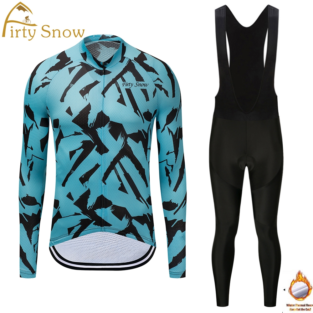 Firty Snow Winter Thermal Fleece Cycling Jersey Long Sleeve Bicycle Bike Clothing Ropa Ciclismo gel pad bib pants 2018