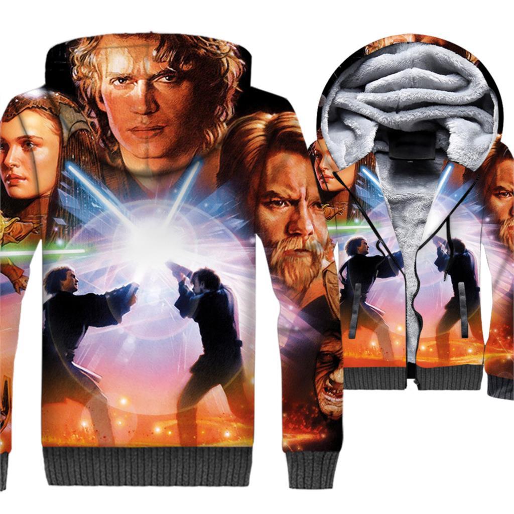 Star Wars Jackets 3D Print Hoodies Men Movie Sweatshirts 2018 Winter Thick Fleece Warm Zip up Hipster Sportswear StarWars Coat