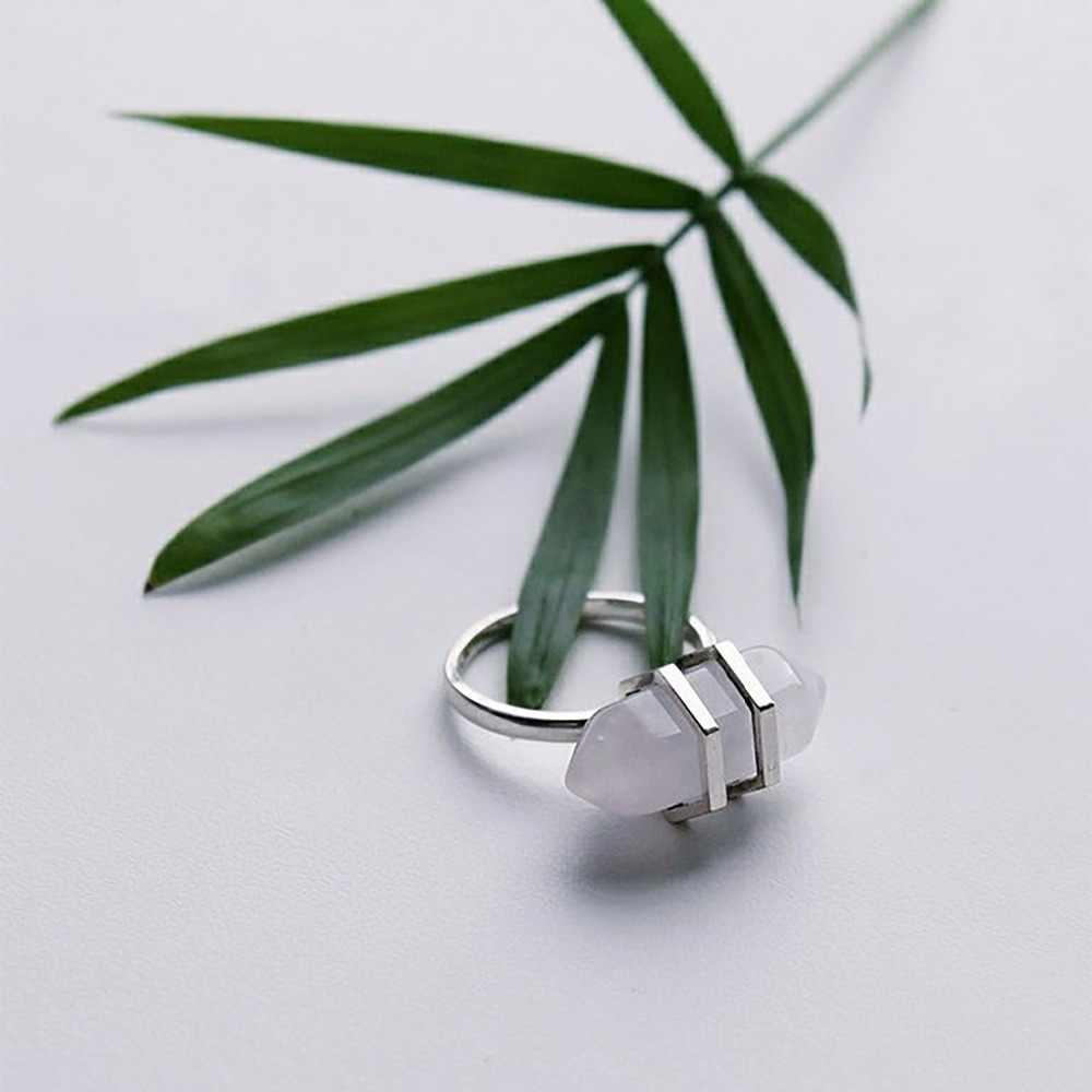 E-Manco 925 เงินสเตอร์ลิง Big หินธรรมชาติแหวนงานแต่งงานและหมั้นเครื่องประดับแหวนแฟชั่นที่ดีที่สุดของขวัญ