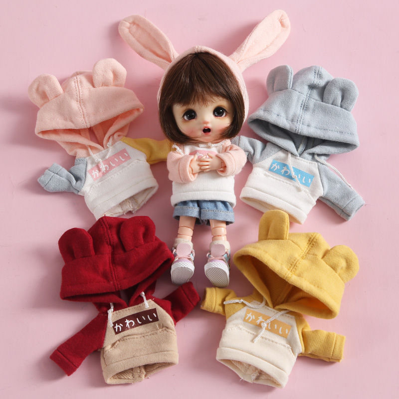 New Cute Doll Clothes Long Sleeve Sweatshirt Hat For Ob11,obitsu 11,1/12bjd Doll Clothes Accessories For Dolls