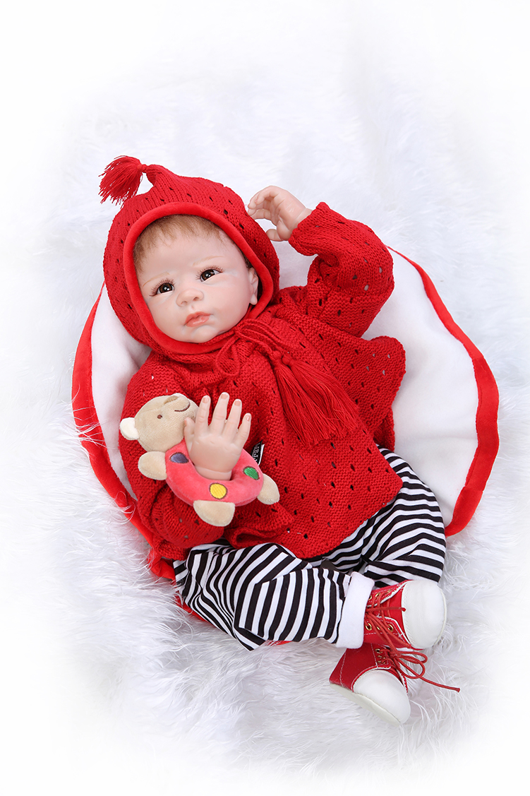 ФОТО 2016 new 22inch in red lifelike npk reborn baby doll with shoes handmade soft silicone vinyl body doll bonecas bebe best gift