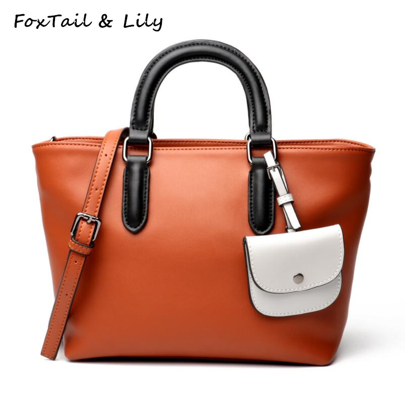 FoxTail & Lily Fashion Patchwork Design Handbags High Quality Women Genuine Leather Tote Shoulder Bag Luxury Lady Crossbody Bags