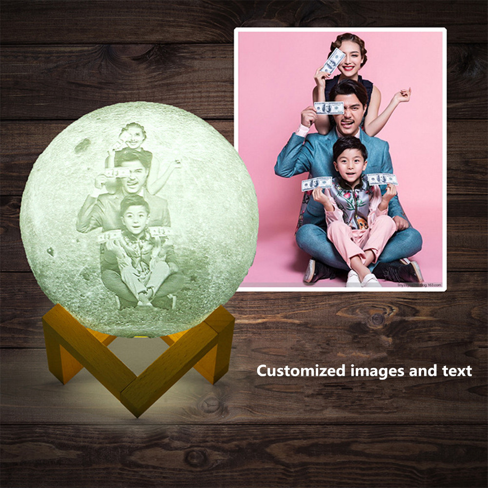 8-22CM Customized 2/16 Colors 3D Print LED Moon Light Touch/24Keys Remote Control Night Lamp For Baby Kids Home Decoration
