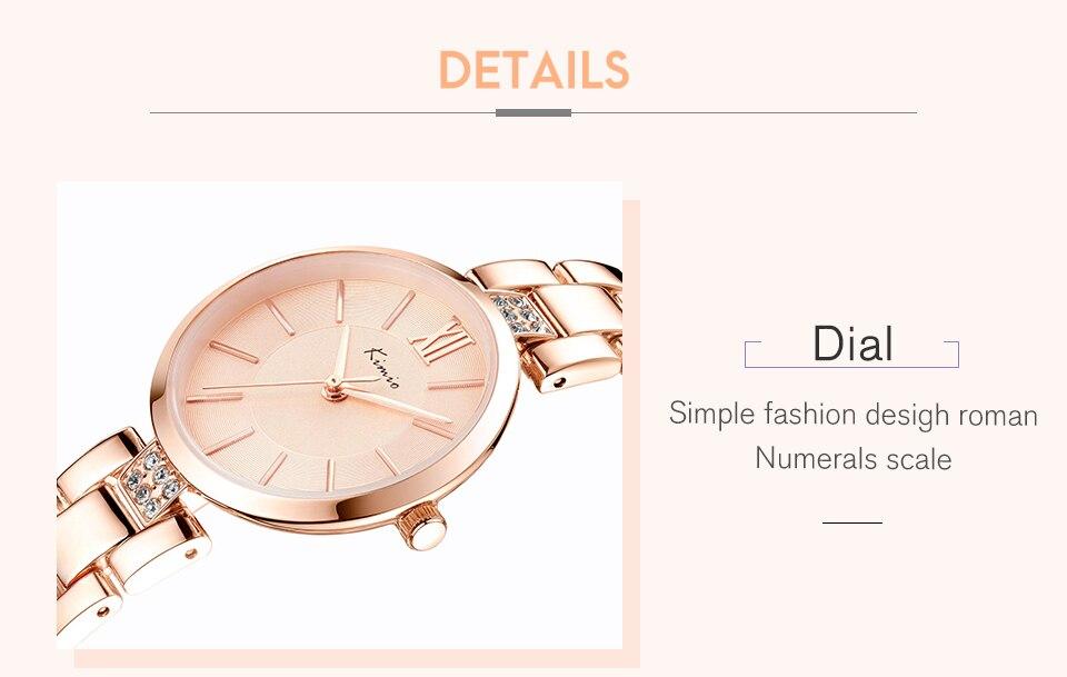 KIMIO Thin Clock Women Fashion Simple Watches Rhinestones Dress Woman Watch Rose Gold Quartz Ladies Women's Watch Wristwatch 26