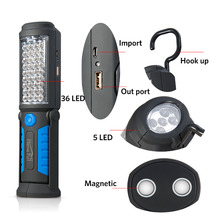 Multifunción USB Recargable 36 + 5 LED Linterna, Soporte de Luz de Trabajo Al Aire Libre Imán + GANCHO + de Energía Móvil Para teléfono Lanterna Lámpara