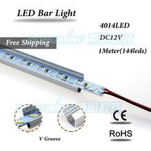 Алюминий U/V Профиль 1 м LED Жесткий полосы 4014 SMD 144 СИД Luces бар свет 12 В кухня ювелирные витрина свет холодный белый