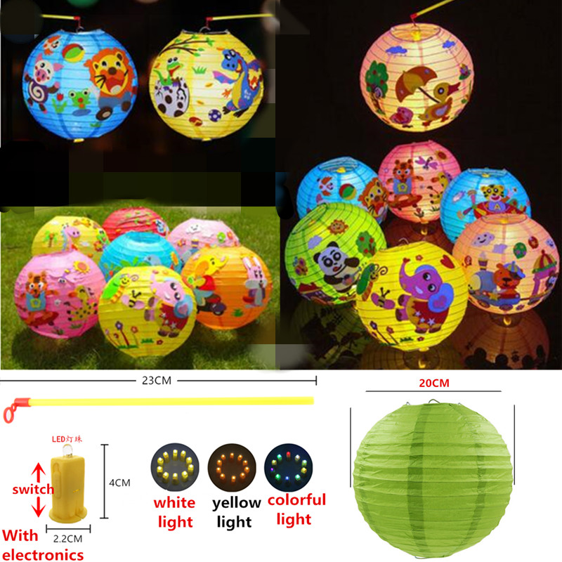 Cartoon Lantern With Led Light Animal Shape Round Paper Lampion Children S Day Diy Handcrafted For Kid Birthday Party Decoration In Lanterns From Home