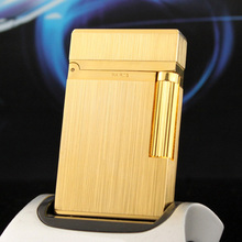 100% New vintage dupont bright sound gas lighter windproof copper body for cigarette