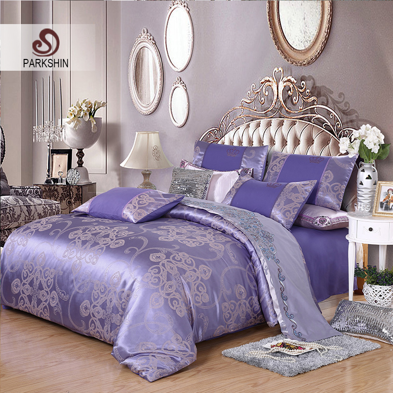 ParkShin Tibutle Silk Bedding Set Luxury Tencel Silk Duvet Cover Set Light Purple Bed Linen 4pcs