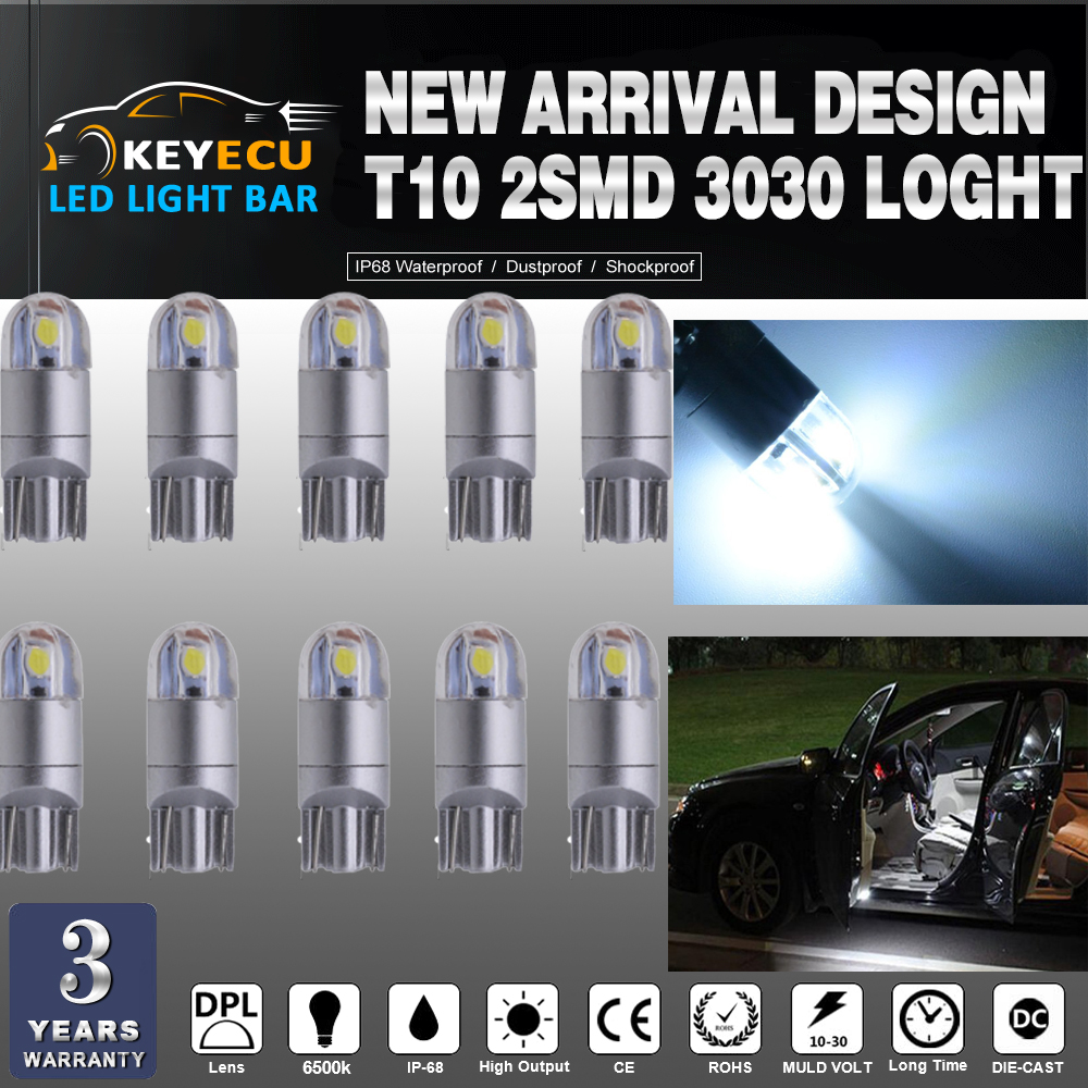 KEYECU 50*194 White LED Light T10 2SMD 3030 Chips Car Interior Light Replacement W5W 168 175 192 Map-Dome-Courtesy-License Plate