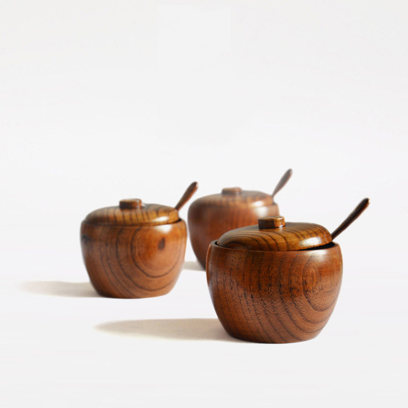 3pcs/set Natural wood spice jar with lid , fashion sugar bowl, salt jar with free spoon