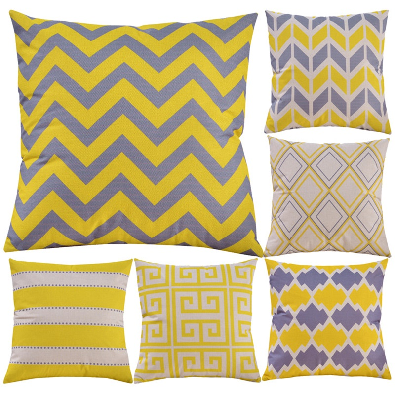 Yellow Geometric Cushion Cover Abstractionism Style Polyester Pillow Cover Home Sofa Chair Car Decoration Throw Pillow Case Latest Fashion Home & Garden