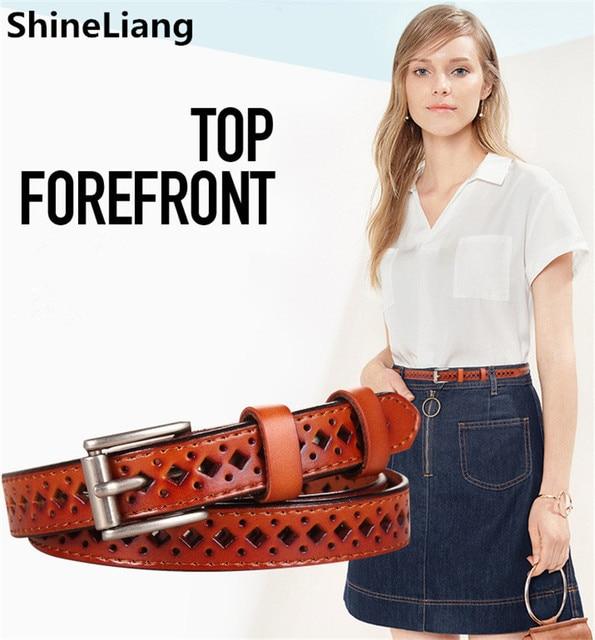 Cinturones de Cuero de las mujeres de piel de Vaca Pin Cuerpo Longitud 110 CM Ancho 1.8 CM de Las Señoras de moda diseñador de la marca Caramelo de la alta calidad Encantadora femenino