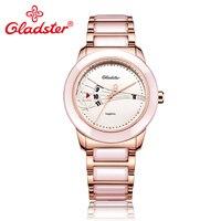 Gladster Fashion Ceramic Sapphire Crystal Glass Ladies' Dress Watch Japan MIYOTA 2115 3H