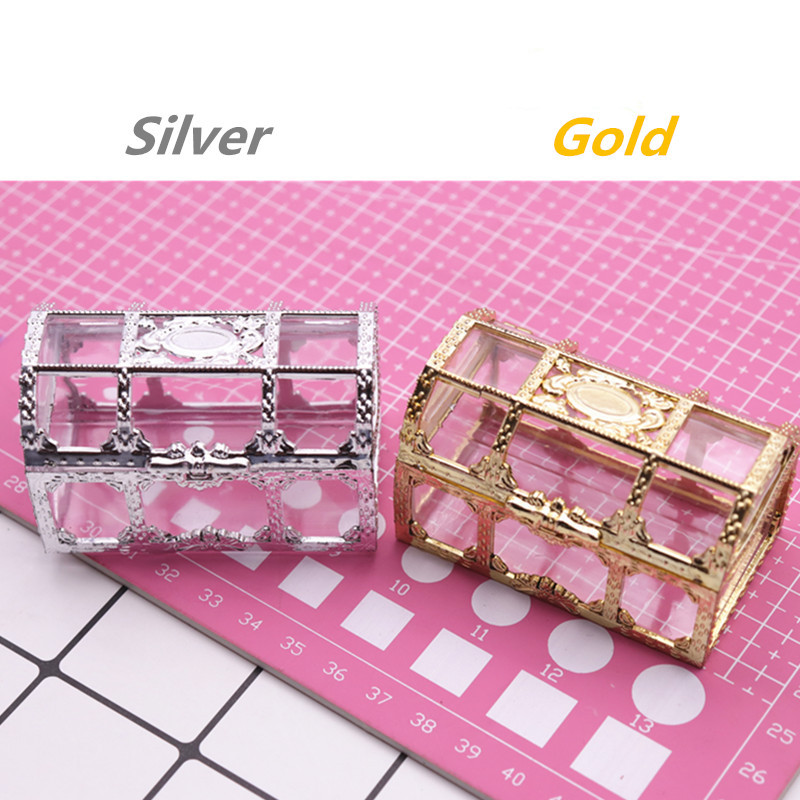 48pcs Creative Treasure Chest Storage Box Gold Silver Plastic Candy Chocolate Box Wedding Decorations Event & Party Supplies (1)