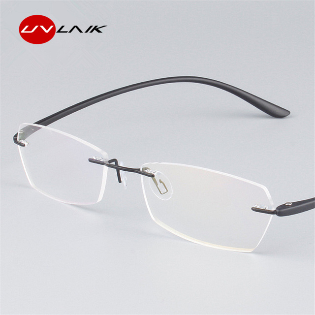 b1a11484a90 UVLINK Classic Mens Plastic Titanium Rimless Glasses Frames For Myopia  Optical Frame Ultra-light Frameless
