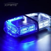 WHITE BLUE 36 LED Light Bar Roof Top Emergency Hazard 12V Oval Flash Strobe 18W Warning Lamp