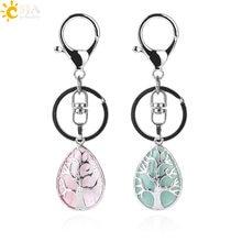 Csja Fashion Water Drop Keychains Key Ring Holder Reiki Natural Gem Stone Tree Of Life