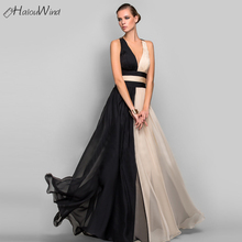 Vintage Women Black and Beige Patchwork Long Dress Wedding Party Evening  Sexy Deep V Neck Backless fc24720911d5