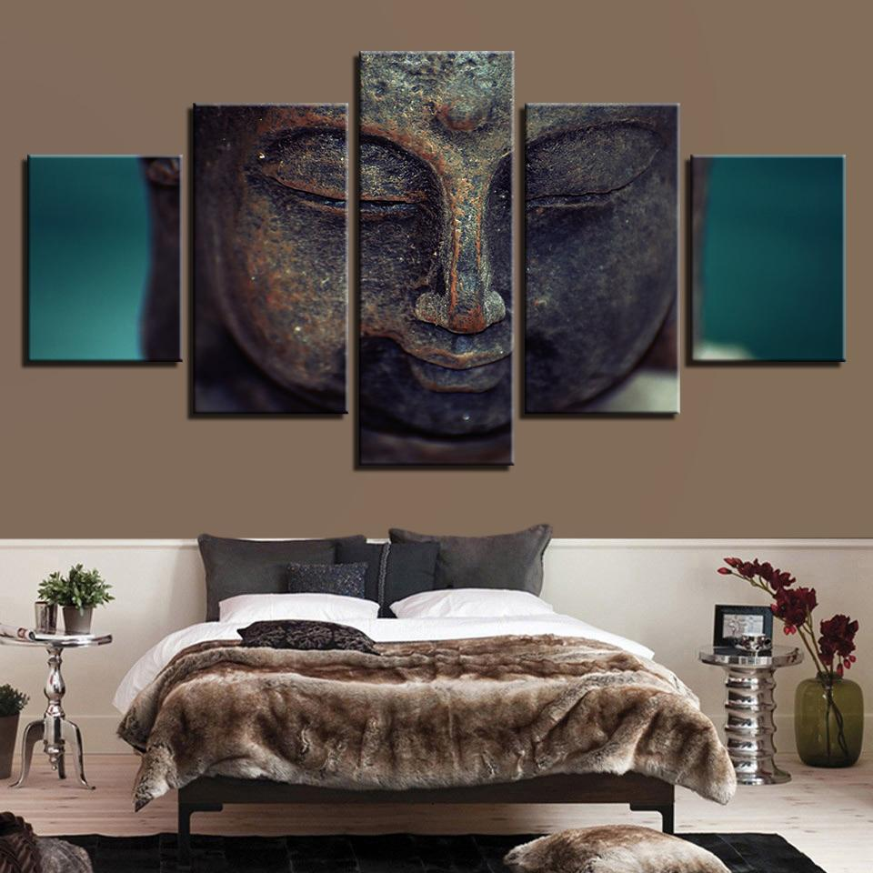 HD Print 5 Pieces Buddhism Buddha Canvas Painting Living