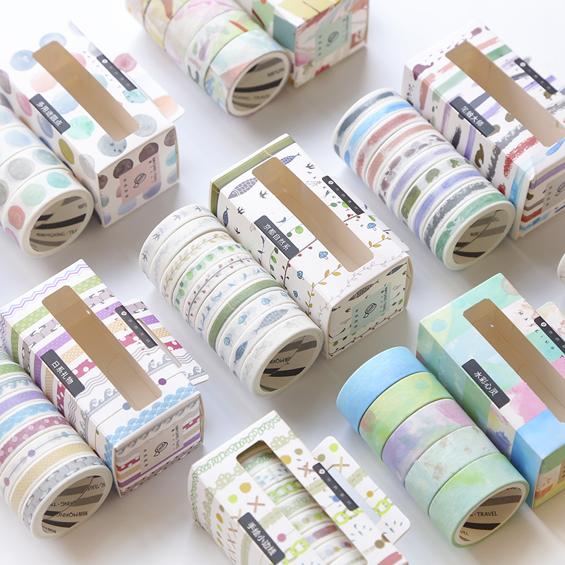 10 Rolls/pack Washi Tape DIY Decor Planners Scrapbooking Sticker Making Paper Decoration Tape Adhesive School Party Supplies