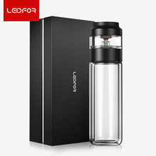 LEIDFOR 320ml Double Wall Tea Bottom Infuser Glass Water Drinking Bottle Vacuum Flask Brand 500ml Thermoses Tea Cup