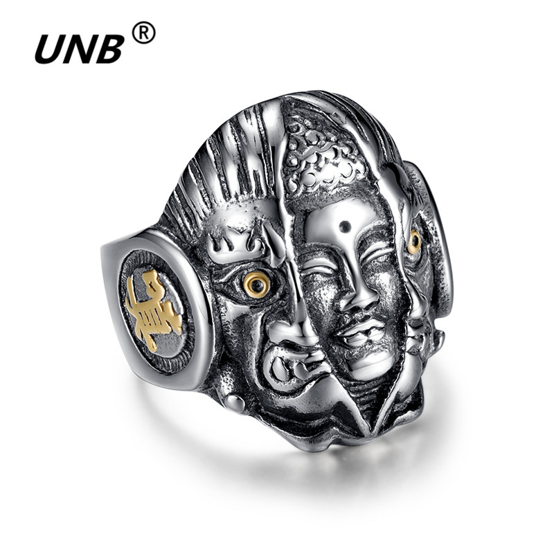 2017 Demon & Buddha Religion Face Vintage Ring Cuff Punk The Eye of Evil One Rings for Men Lord Rings Warcraft Mens Signet Rings