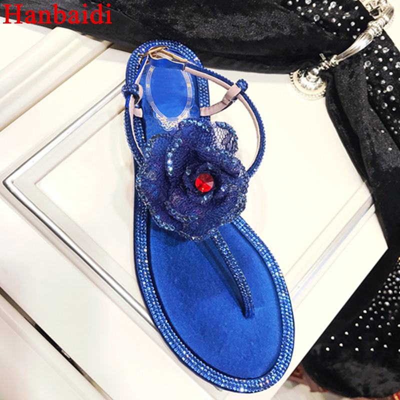 Gladiator genuine leather sandals Luxury Crystal Flower women flat heel ankle strap flipflops bead summer beach shoes for ladies us 8size full real leather sweet women 2017 summer ankle strap flat heel sandals ladies hot fashion red blue apricot flats shoes