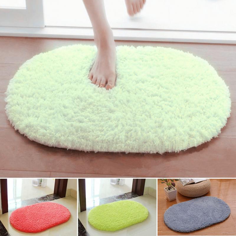 40*60cm Pure Color Bedroom Oval Carpet Floor Mats Floor