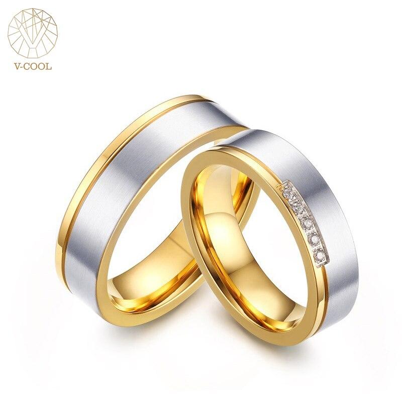V-COOL Нержавеющаясталь пары кольцо Для мужчин золото обручальное Обручение Юбилей Lovers его и ее обещание кольца для Для мужчин VR310
