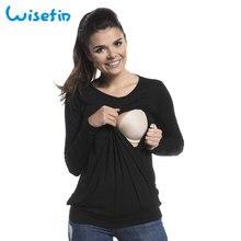 Wisefin Maternity Tops Women T Shirt Long Sleeve Autumn Pregnancy Tees Clothes O-Neck Maternity Breastfeeding Nursing T-Shirts